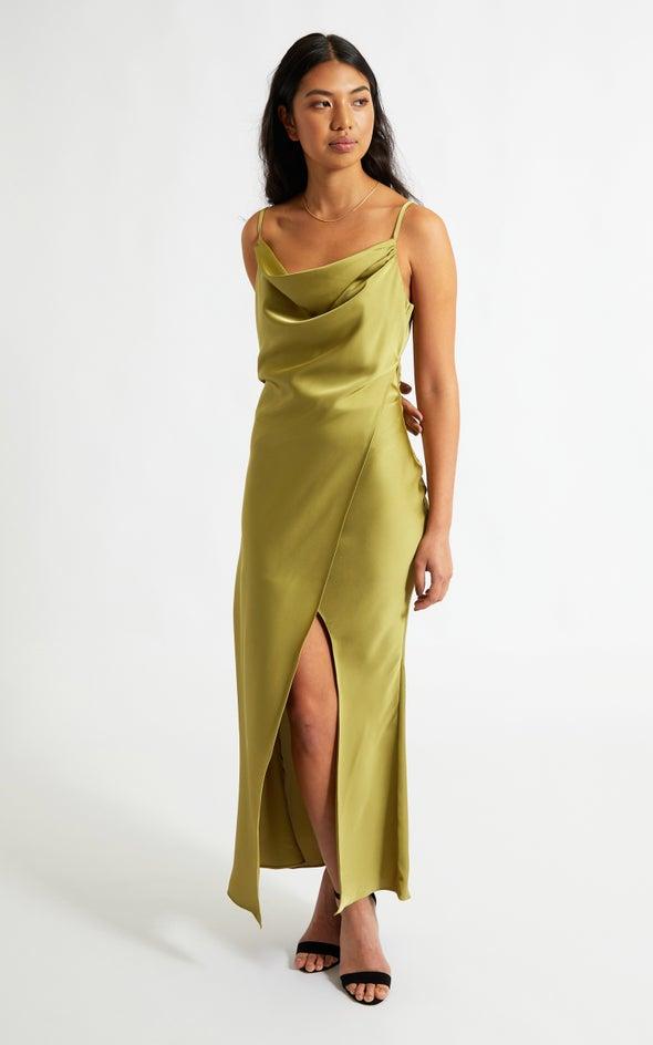 Satin Cowl Split Detail Gown Olive
