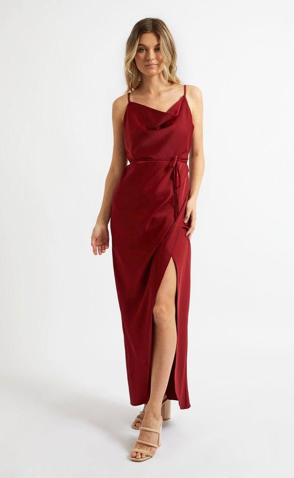 Satin Cowl Split Detail Gown Red Wine