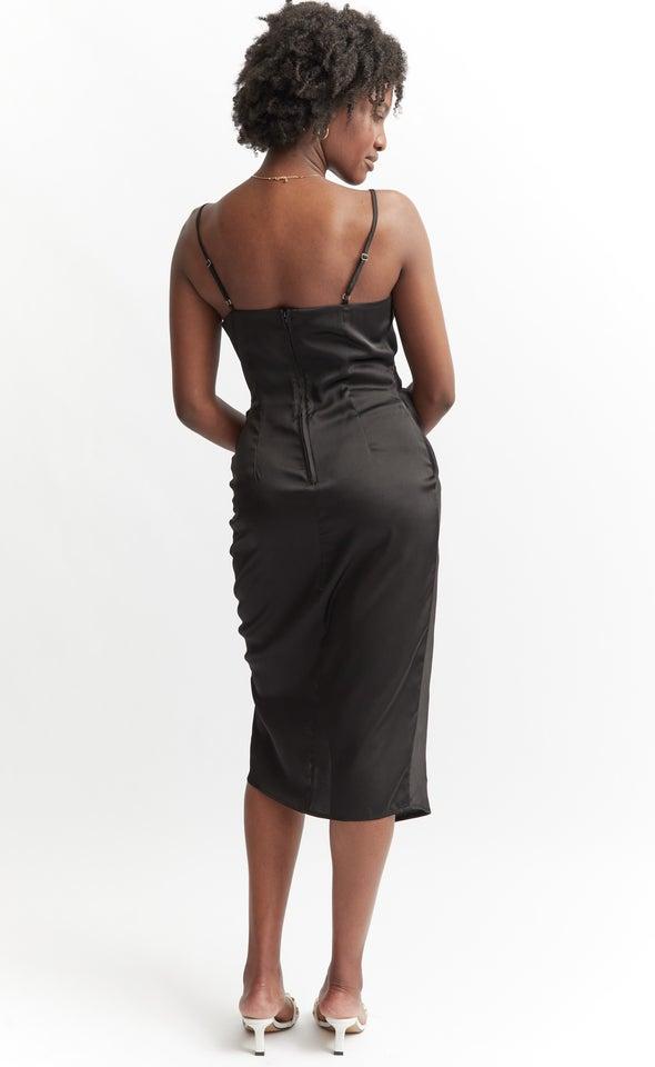 Satin Cowl Split Hem Dress Black