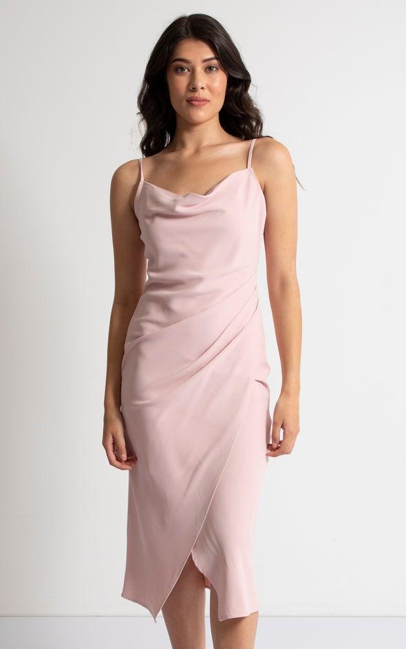 Satin Cowl Split Hem Dress Blush