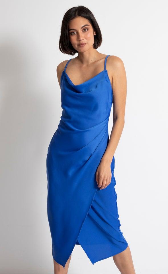 Satin Cowl Split Hem Dress Cobalt