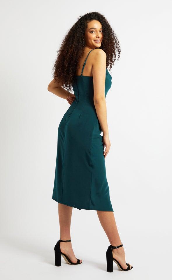 Satin Cowl Split Hem Dress Emerald