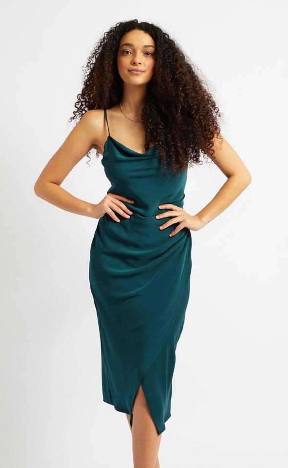 Satin Cowl Split Hem Dress
