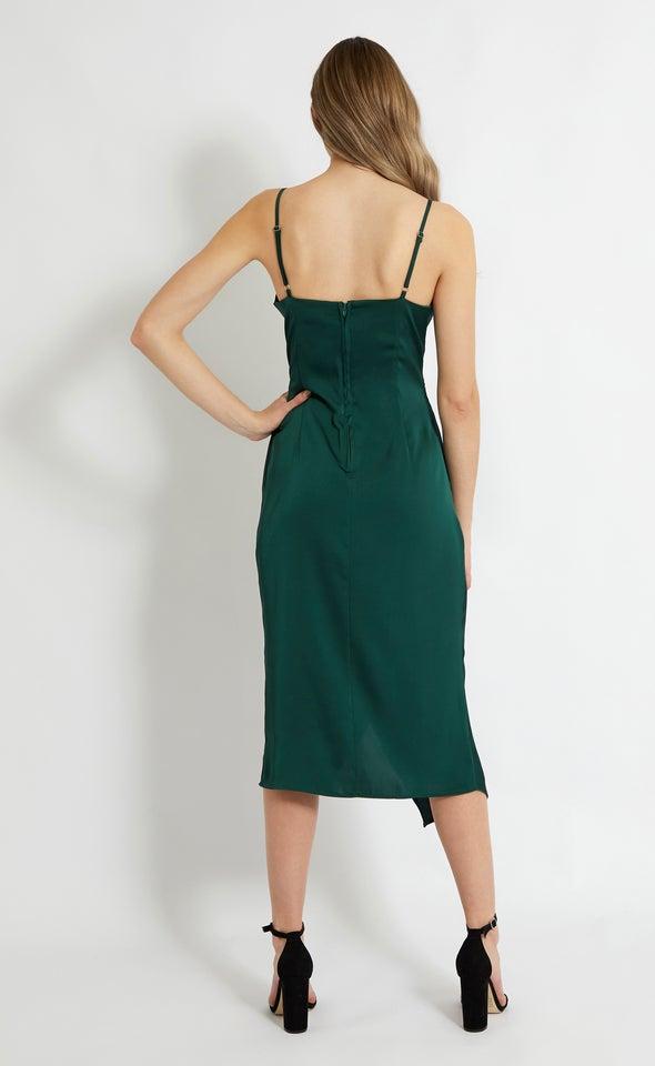 Satin Cowl Split Hem Dress Forest Green