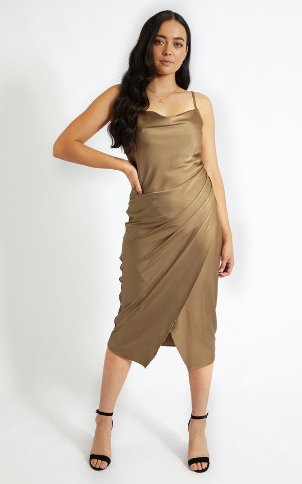 Satin Cowl Split Hem Dress Khaki