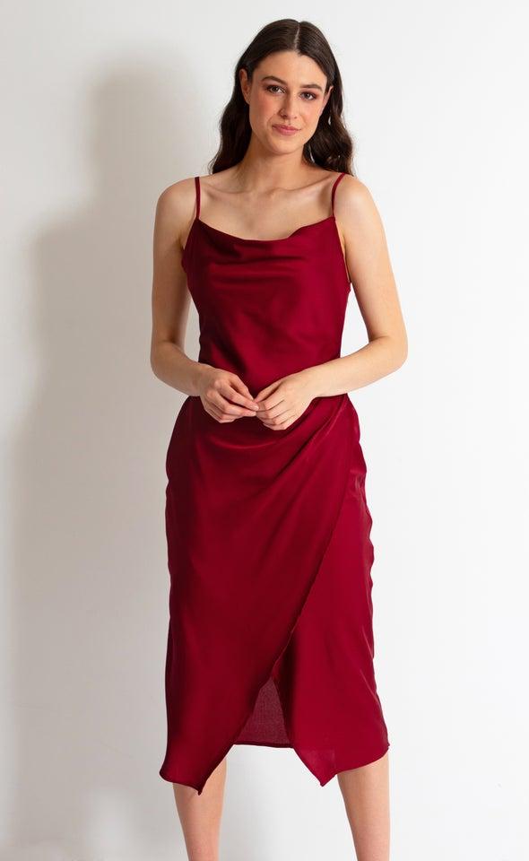 Satin Cowl Split Hem Dress Maroon