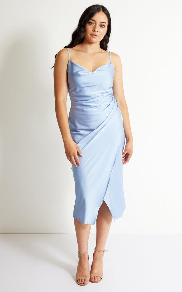 Satin Cowl Split Hem Dress Pale Blue