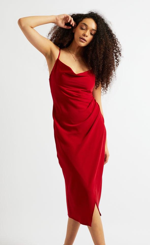 Satin Cowl Split Hem Dress Red Wine