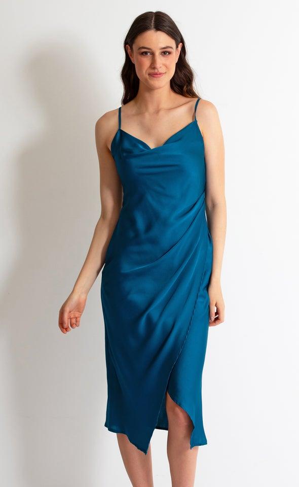 Satin Cowl Split Hem Dress Teal
