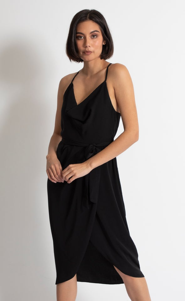 Satin Cowl Tie Wrap Dress Black
