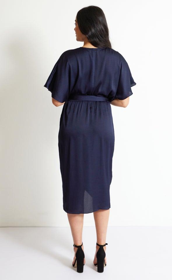 Satin Cross Front Midi Dress Navy
