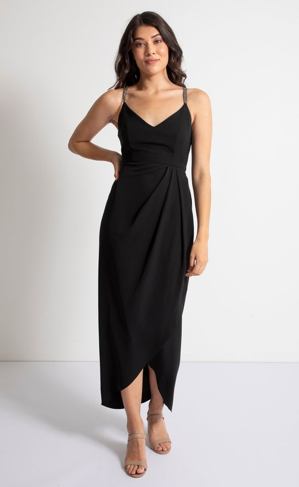 Satin Embellished Wrap Gown