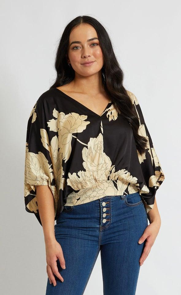 Satin Floral Kaftan Top Black/beige