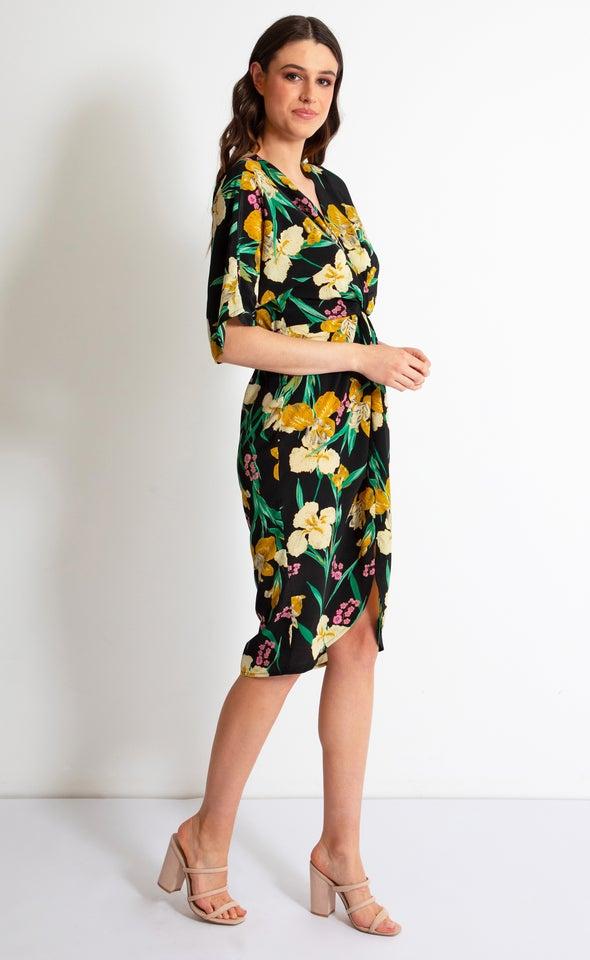 Satin Floral Kimono Twist Dress Black/tropical