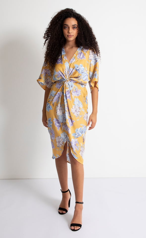 Satin Floral Kimono Twist Dress Mustard/floral