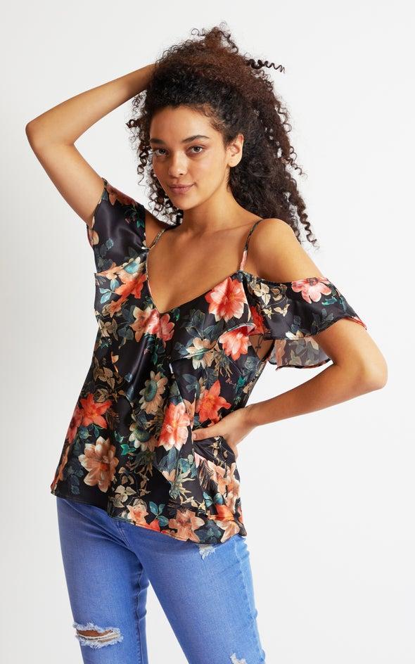 Satin Flutter Cold Shoulder Top Black/floral