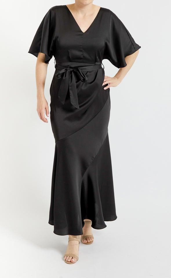 Satin Flutter Diagonal Detail Gown