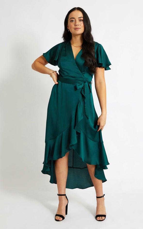 Satin Flutter Sleeve Wrap Gown Emerald