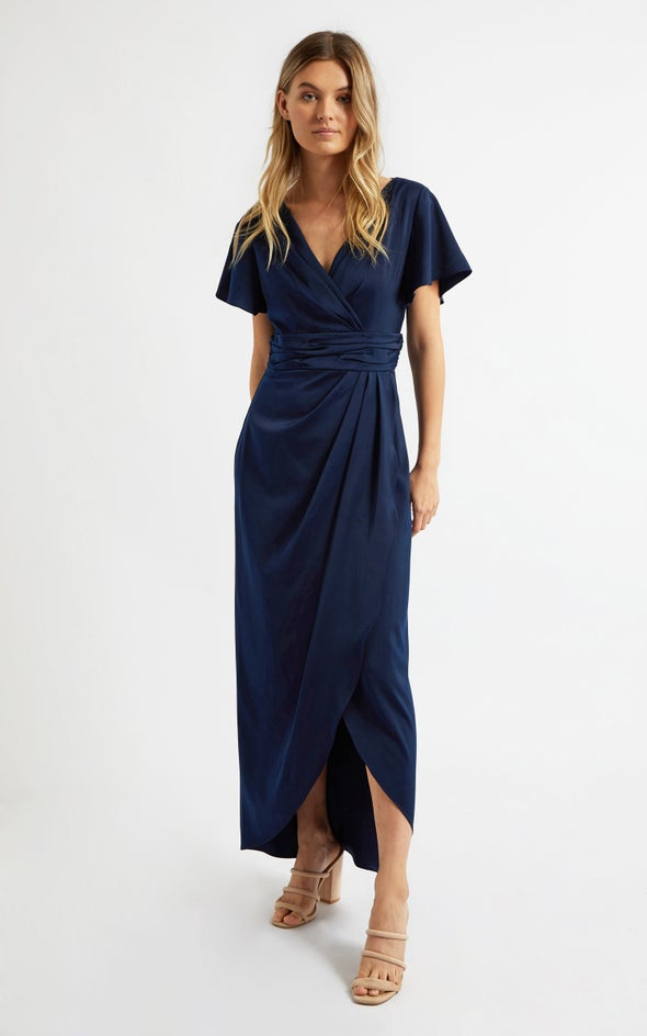 Satin Flutter Sleeve Wrap Gown Navy