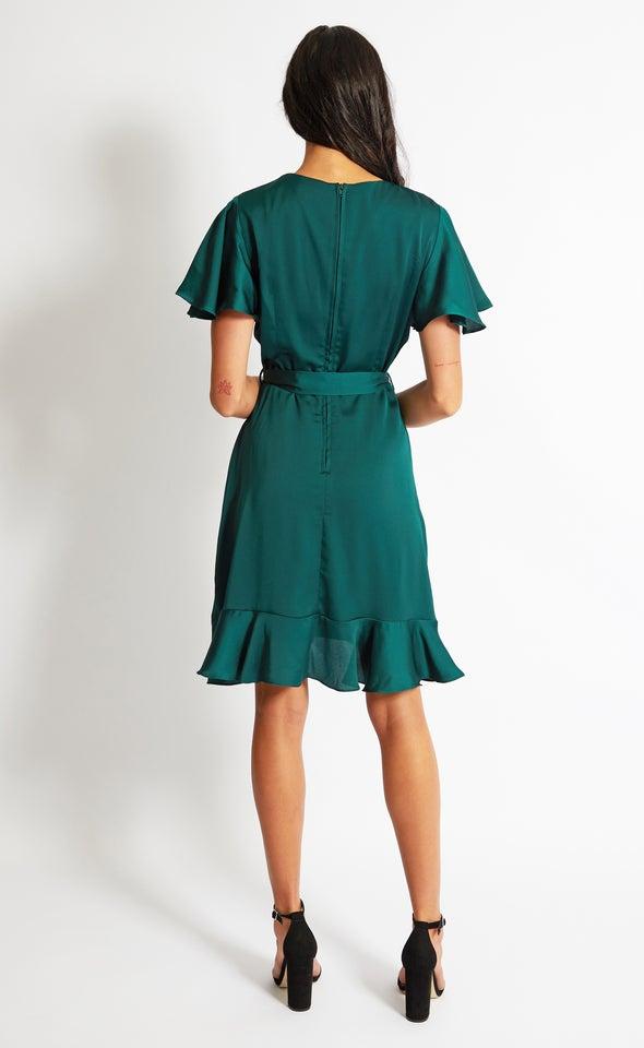 Satin Flutter Wrap Dress Emerald