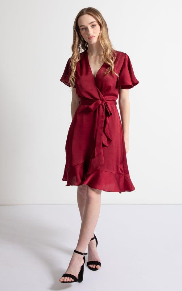 Satin Flutter Wrap Dress Maroon