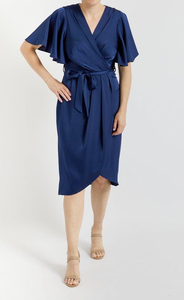Satin Flutter Wrap Midi Dress