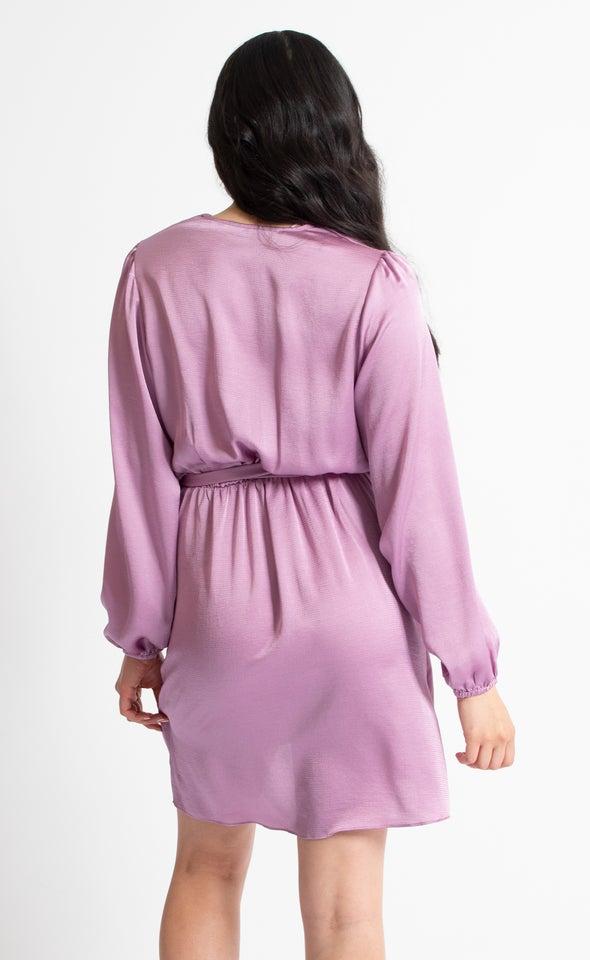 Satin Gathered LS Wrap Dress Lilac