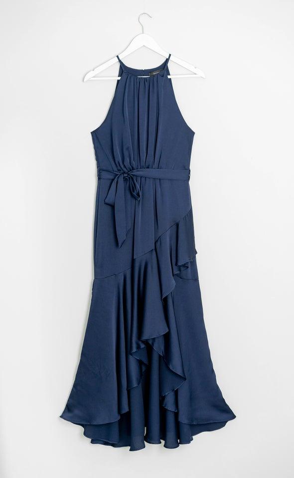 Satin High Neck Ruffle Gown Navy