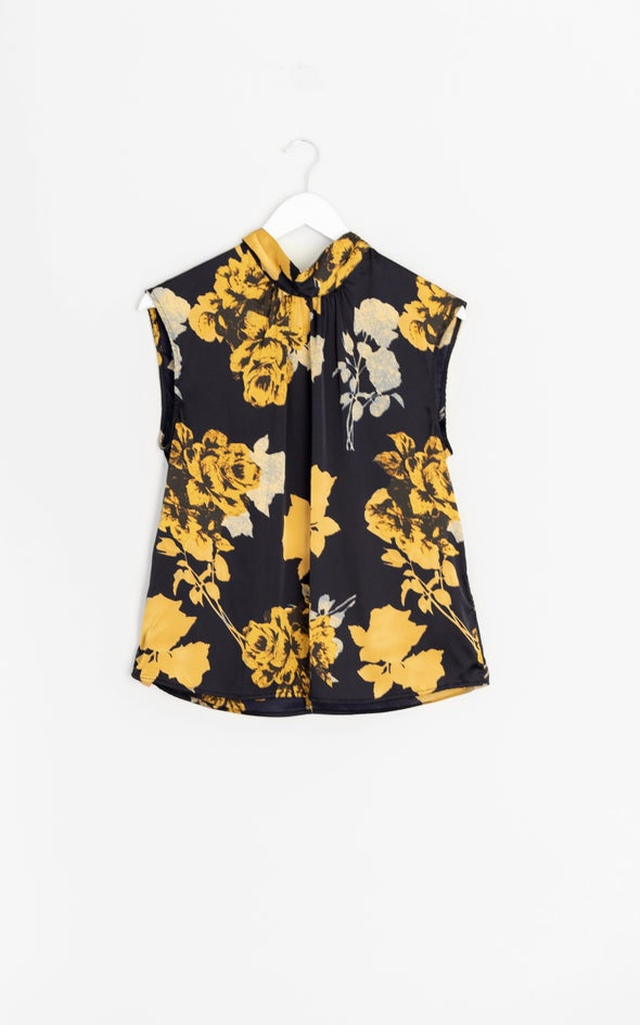 Satin High Neck Shell Top Ink/gold
