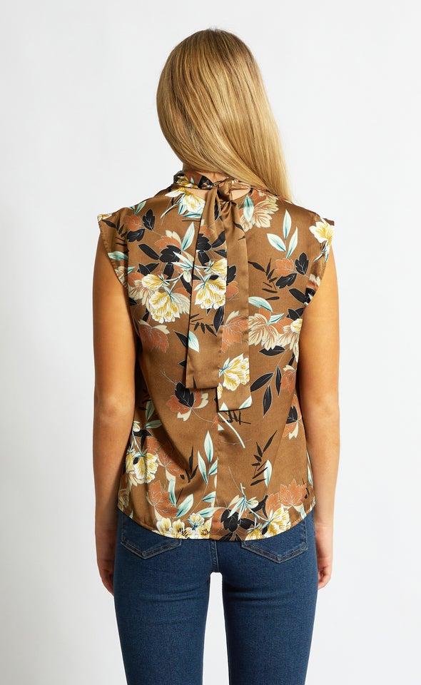 Satin High Neck Shell Top Khaki/floral