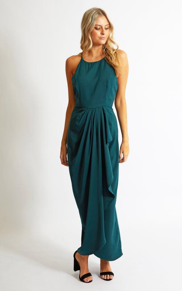 Satin High Neck Wrap Gown Emerald