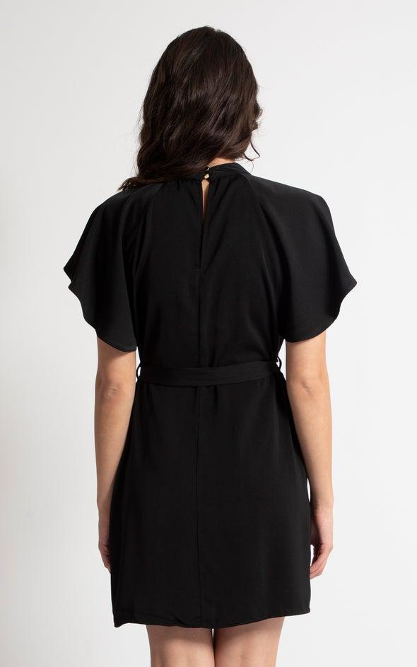 Satin Keyhole Detail Shift Dress Black