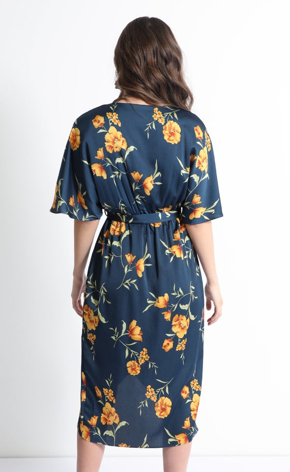 Satin Kimono Midi Dress Dark Teal/ochre
