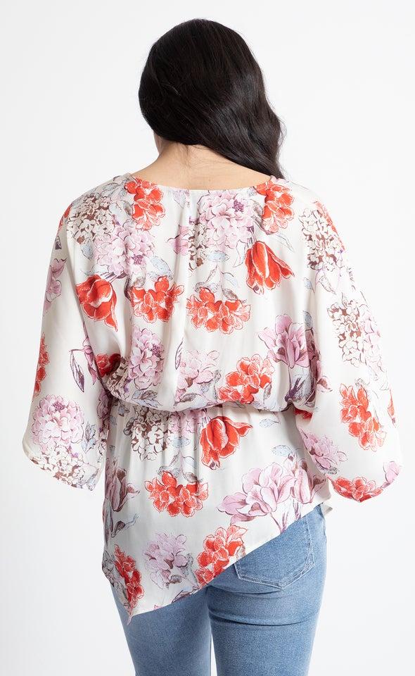 Satin Kimono Sleeve Top Cream/floral