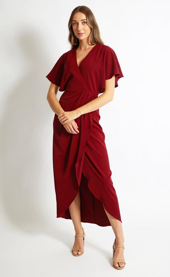 Satin Kimono Sleeve Wrap Gown Maroon