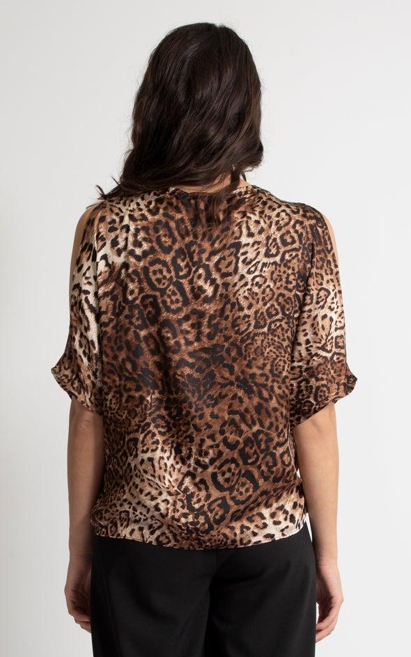 Satin Leopard Cross Front Top Leopard Print