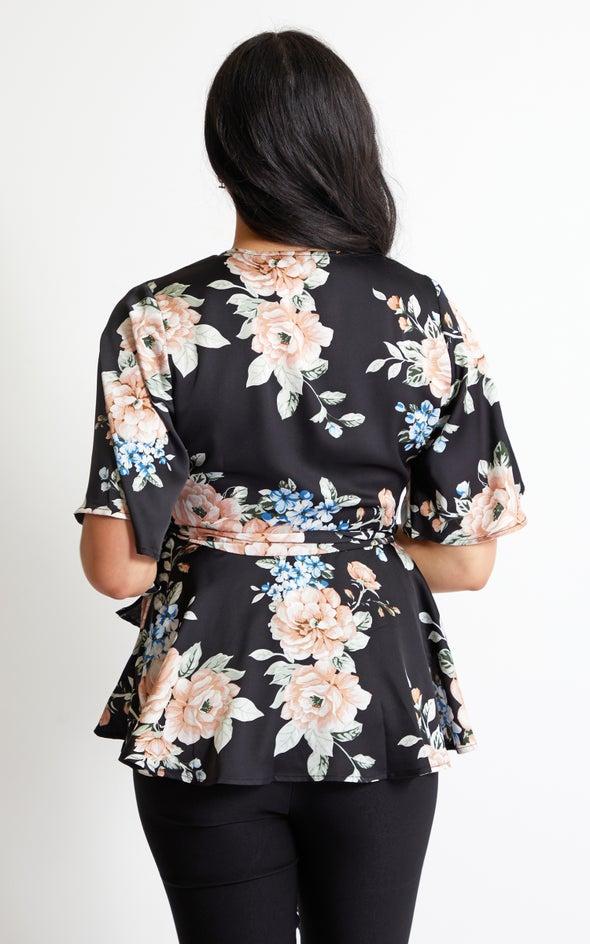 Satin Peplum Detail Wrap Top Black/floral