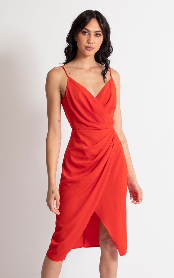 Satin Pleat Wrap Front Dress Tangerine