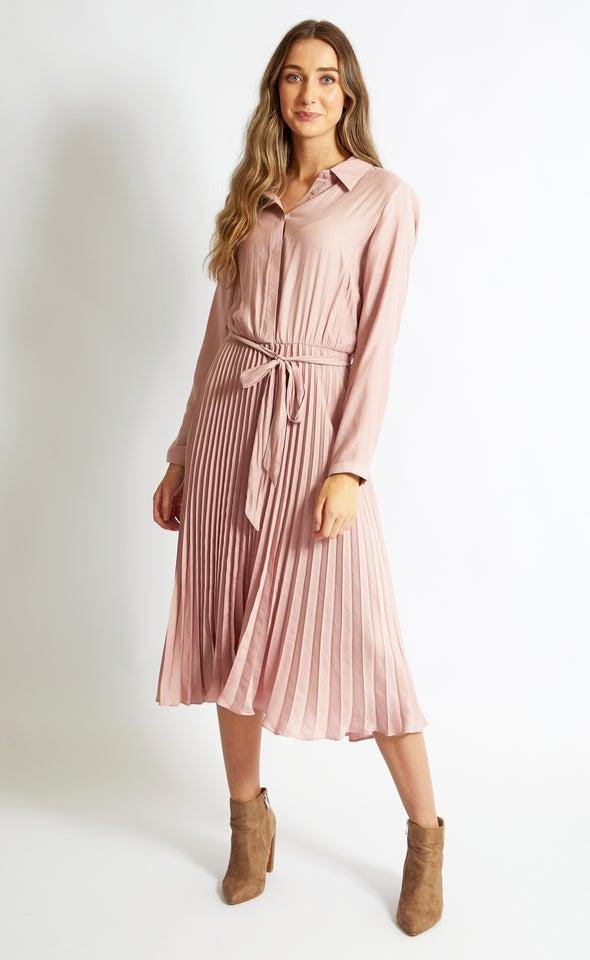 Satin Pleated Midi Shirt Dress
