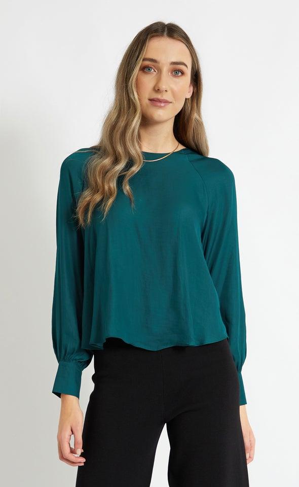 Satin Raglan Cuff Detail Top Emerald