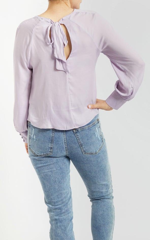 Satin Raglan Cuff Detail Top Lilac