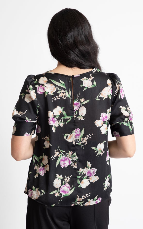 Satin Ruched Cuff Blouse Black/floral