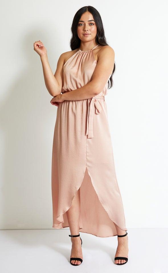 Satin Ruched Halter Neck Gown Blush