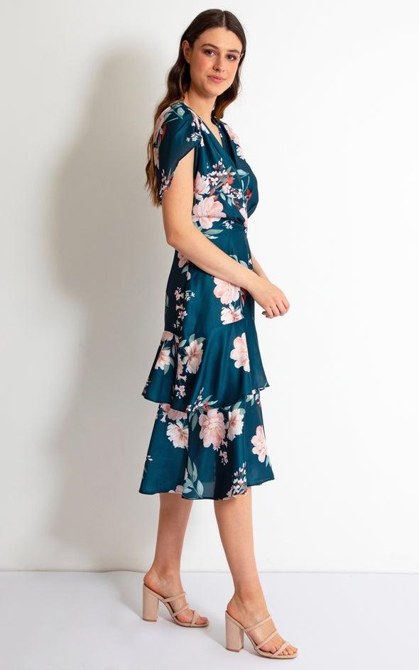 Satin Ruffle Detail Midi Dress Dark Teal/floral