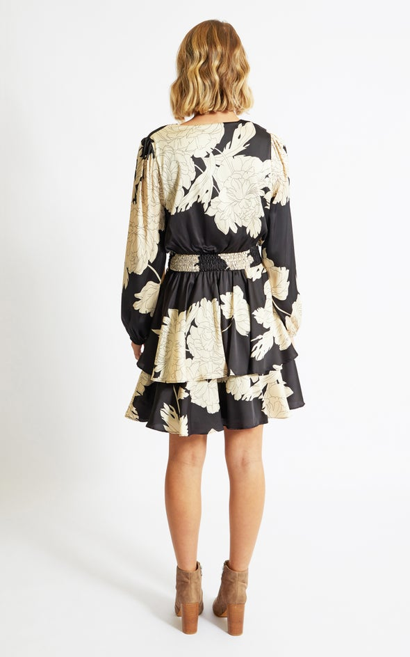 Satin Shirred Waist LS Dress Black/beige