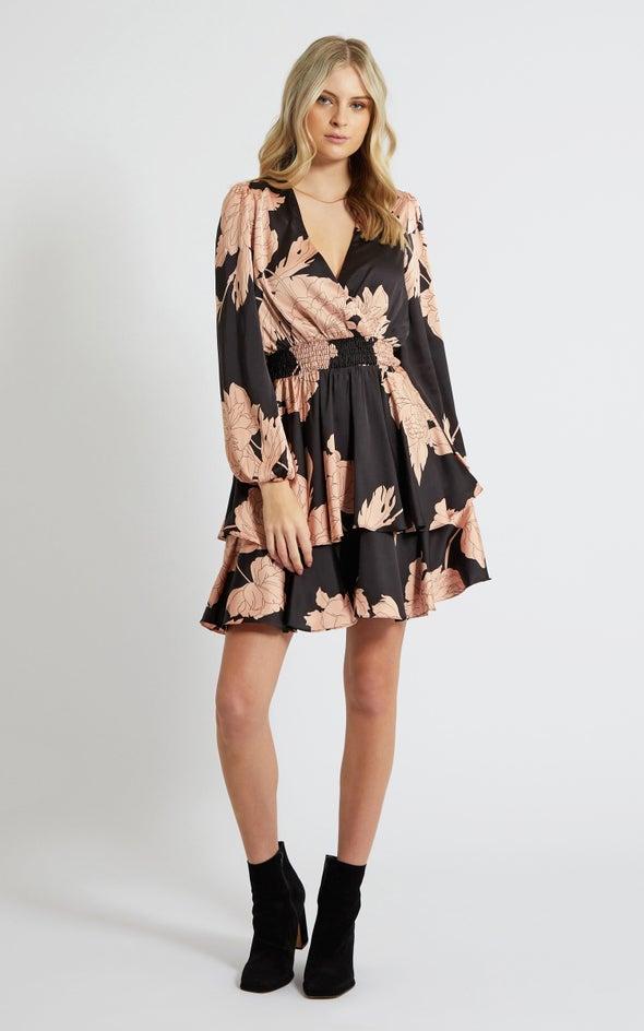 Satin Shirred Waist LS Dress Black/blush