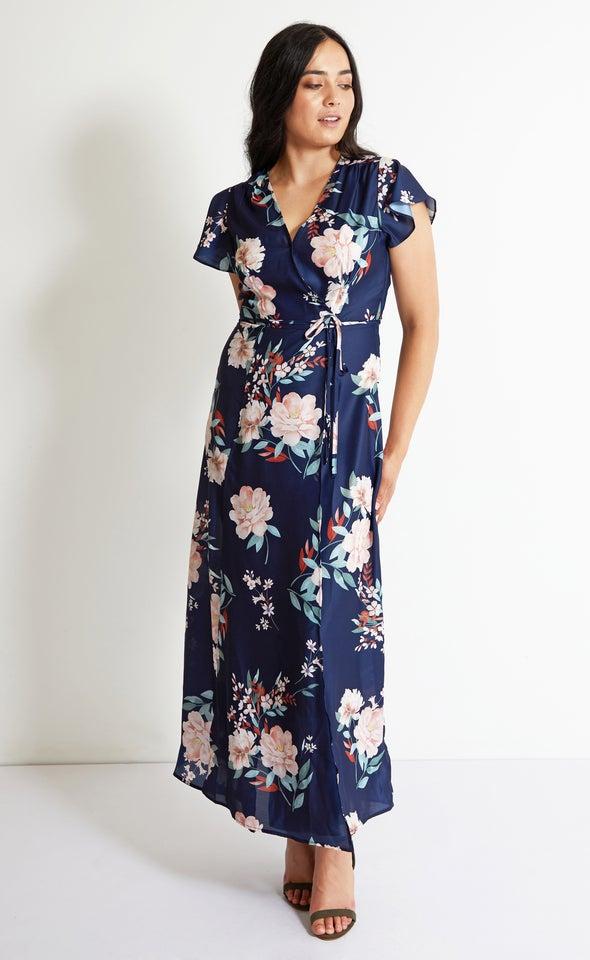Satin Split Detail Wrap Maxi Navy/floral