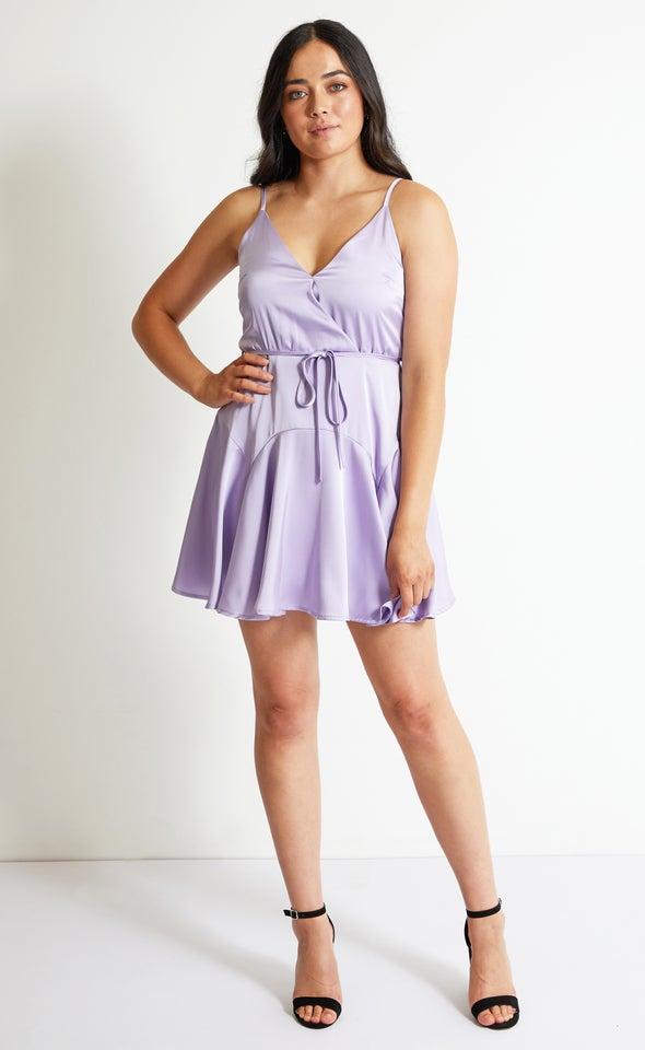 Satin Strappy Skater Dress Lilac