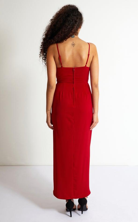 Satin Tie Detail Wrap Gown Red Wine