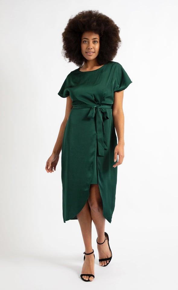Satin Tie Wrap Midi Dress Forest Green